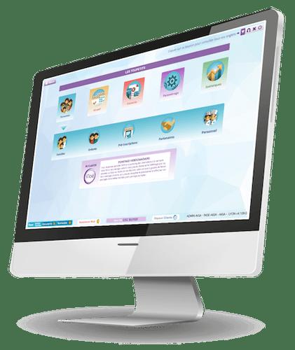Visuel d'un ordinateur connecté au logiciel de gestion de crèche iNoé